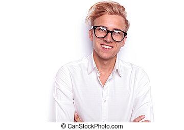 tragen, schließen, porträt, sexy, blond, mann, brille