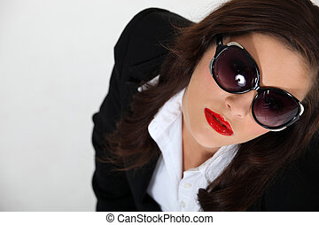 tragen, sexy, frau, sonnenbrille