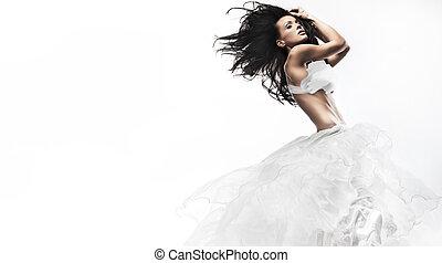 tragen, sexy, weißes, frau, kleiden