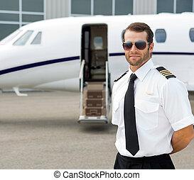 tragen, sicher, sonnenbrille, pilot