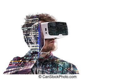 tragen, stadt, exposure., doppelgänger, virtuelle wirklichkeit, nacht, goggles., mann