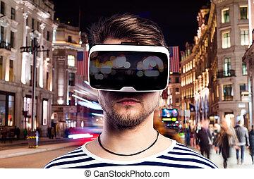 tragen, stadt, virtuelle wirklichkeit, schwimmbrille, gegen, nacht, mann