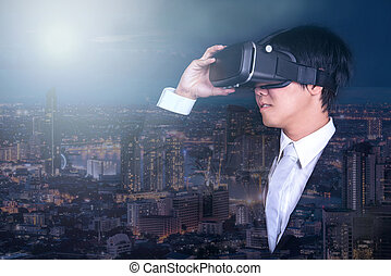 tragen, stadt, virtuelle wirklichkeit, schwimmbrille, nacht, geschäftsmann, ansicht