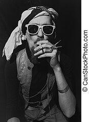 tragen, stilvoll, sonnenbrille, junger mann