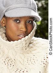tragen, strickwaren, frau, modisch, kappe, baum, studio, front, weihnachten