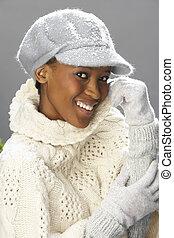 tragen, strickwaren, frau, modisch, kappe, studio