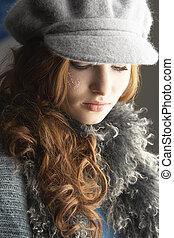 tragen, strickwaren, jugendlich, modisch, kappe, studio, m�dchen