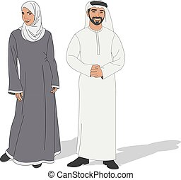 tragen, traditionelle , paar, moslem