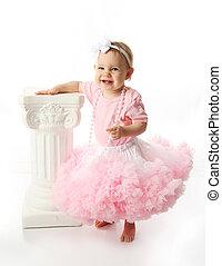 tragen, tutu, säugling, lieb, schleife, freigestellt, rosa, studio, halsschmuck, porträt, weißes, stirnband