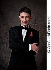 tragen, tuxedo., junger mann