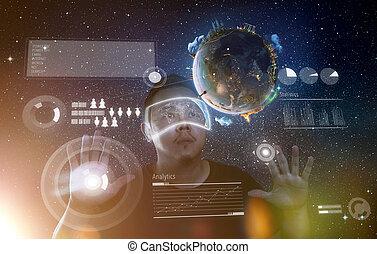tragen, virtuelle wirklichkeit, mann, zukunftsidee, brille