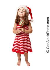 tragen, wenig, besitz, zuckerl, santa, m�dchen, hut, weihnachten
