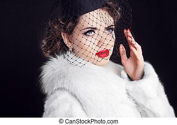 tragen, wenig, frau, pelz, winter mantel, elegant, retro, porträt, weißes, schleier, hut