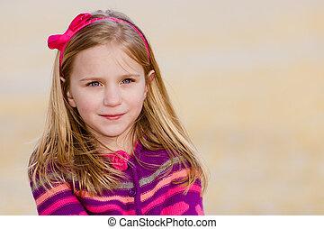 tragen, winter, fruehjahr, park, junger, früh, hübsch, kind, porträt, m�dchen, poncho, stricken, oder