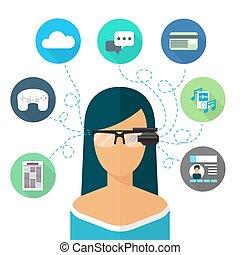 tragen, wohnung, frau, augmented, ikone, reality., brille