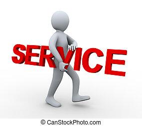 tragen, wort, 3d, mann, service