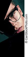 tragende brillen, junger, poppig, kerl, hübsch