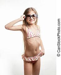 tragende sunglasses, klage, m�dchen, schwimmender, glücklich