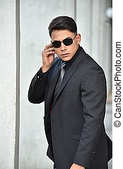 tragende sunglasses, service, agent, geheimnis, latino, ...