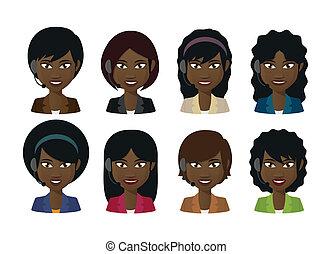 tragender kopfhörer, avatars, weibliche , klage