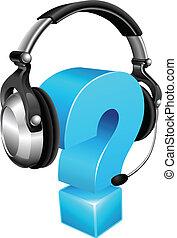 tragender kopfhörer, fragezeichen
