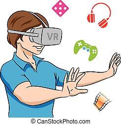 tragender kopfhörer, kerl, virtuelle wirklichkeit