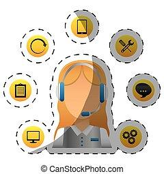 tragender kopfhörer, zentrieren, service, arbeiter,...