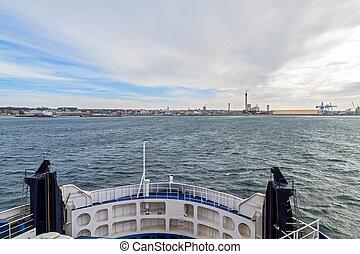 traghetto, stretto,  oresund, vista