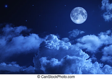 tragico, pieno, cielo, notte, luna