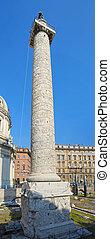 Traian column (Colonna Traiana) in Rome, Italy