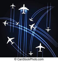 traiettorie, aeroplani, fondo