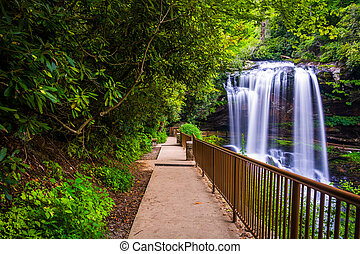 Trail and Dry Falls, in Nantahala National Forest, North...