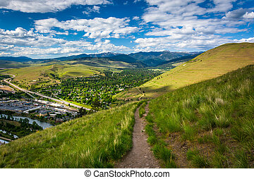 Trail and view of Missoula from Mount Sentinel, in Missoula,...