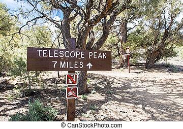 trail;, dirección, muerte, telescopio, parque, no,...