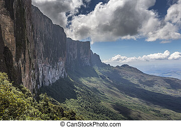 Trail down from the plateau Roraima passes under a falls