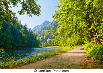 Trail in the Dunajec River Gorge. View from Slovakia.