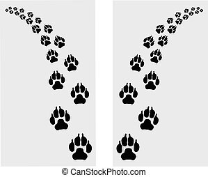 Trail left and right of footstep of dog, vector