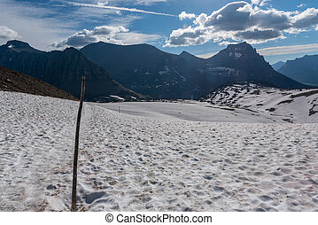 Trail Markers Over Snow Field at Logan Pass