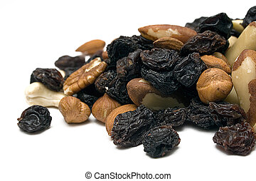 Trail Mix (Front) - Front view on a healthy trail mix on a...