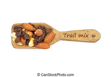 Trail mix on shovel