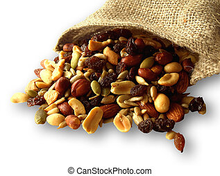 Trail mix of nuts, seeds, and dried fruit. Healthy...