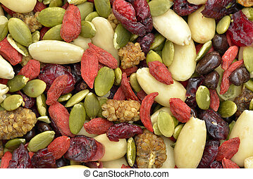 Trail mix with pumpkin seeds, dried cranberries, almonds,...