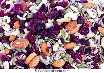 Trail mix with dried fruit