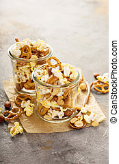 Trail mix with popcorn and pretzels