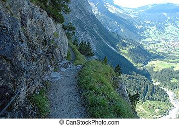 Trail from Grindelwald to Glecksteinhutte hill station in Alps in Switzerland