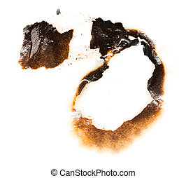 Trail of burnt paper on white background