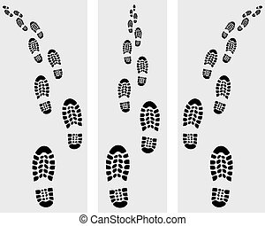 Trail of prints of shoes, vector