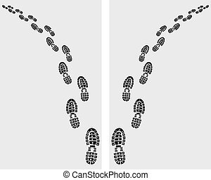 prints of shoes - Trail of prints of shoes, vector ...