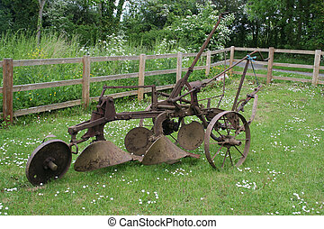 Trail plough - Farm equipment. Old trail plough.