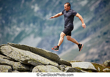 Trail runner in the mountains